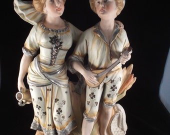 """Boy and Girl Greek, Italian, Spanish Figurine with Lyre 15"""" tall,  Sculpture"""