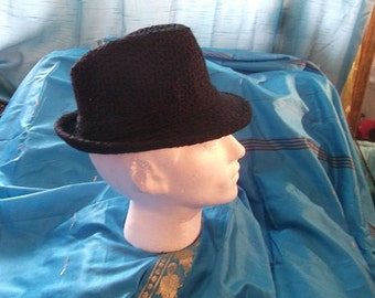 Black Gangstar Trilby Hat-wool/corderoy /CosPlay/Festivals/burlesque/theatre/stage wear