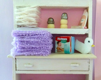 Child Nursery Shelves with baby items dollhouse miniature 1/12 scale.