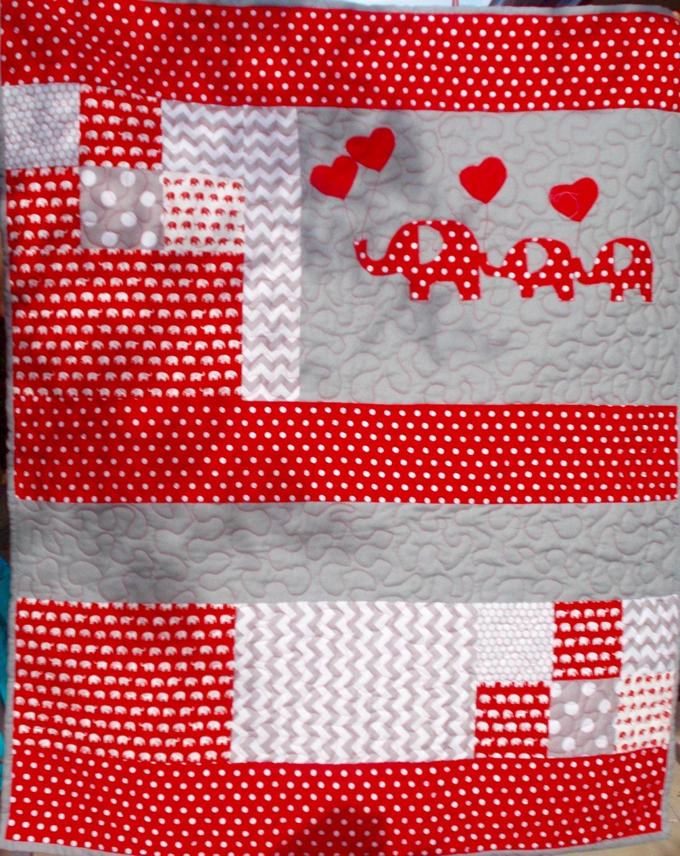 COT QUILT NURSERY Elephant Theme Patchwork Fabric Machine