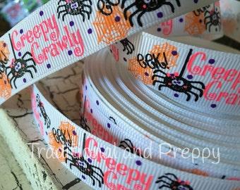"7/8"" Halloween Creepy Crawley Spider glitter grosgrain ribbon"