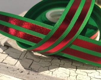 """3 yards 7/8"""" Christmas Red Foil stripe on Green grosgrain ribbon"""