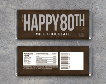 HAPPY 80TH Candy Bar Wrappers – Printable Instant Download – Happy 80th Birthday Hershey's Candy Bar Wrappers – Use as a gift or gift tag!