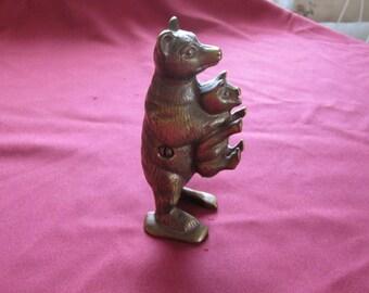 Vintage  Cast Iron Bear Stealing Pig Bank