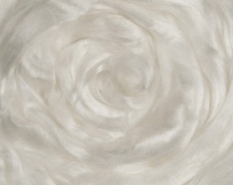 Tencel Top Roving. Man made cellulose rayon fiber used for spinning, felting and silk fusion