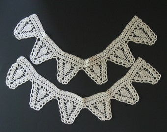 Vintage set of 2 crochet collars, bunting, triangle flags. Handmade lace accents.