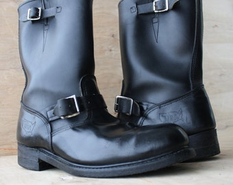 Men's Vintage Classic Engineer Boots/ Biker Boots/ 1970s/ Leather Steel Toe Harness Boots/ Size 12