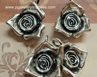 Pewter antique silver tone rose flower pendants charms 4 pieces