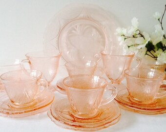 Vintage Pink Glass Tea Set, Hazel Atlas, 1930s