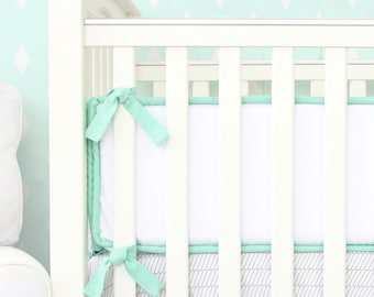 Mint and White Baby Bumpers | Micah's Mint Collection