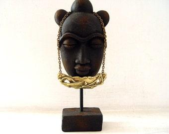 Vintage Brass  Necklace . Hammered Brass Necklace.