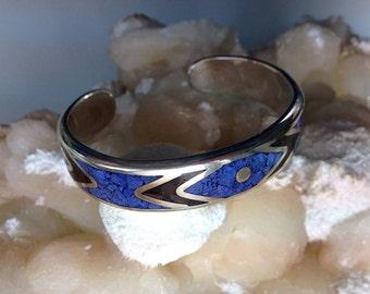Lapis Lazuli Black Onyx Gemstone Mosaics Bangle Sterling Silver