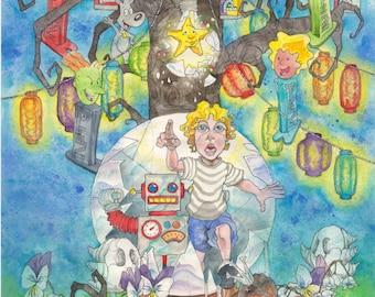 Fairy Tale, Fairy Tale Print, Wall Art, Whimsical Art, Whimsical Painting, Whimsical Print, Pez Art, Pez Dispenser, Watercolor Print