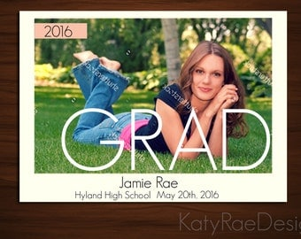 YOU PRINT 7 x 5 Custom Printable Graduation Announcement /Digital Download/Custom Portrait