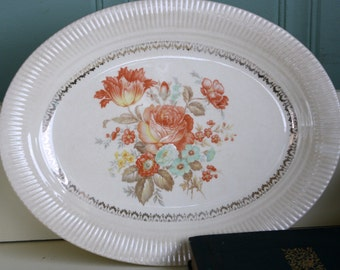 Vintage Floral Platter Shabby Rose Cottage Decor Victory Pattern by Salem China Co
