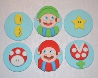 Mario Brothers Fondant Cupcake Topper, mario brothers, fondant mario cupcake topper, fondant mario
