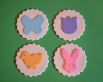 Easter Fondant Cupcake Toppers, easter cupcake toppers