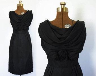 1960s Little Black Sheath Dress with Black Rose Details by Ferman O'Grady