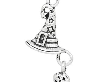 4 Witch Hat Charms Wizard Hat Pendants Tiny Charms Small Pumpkins Halloween 8008