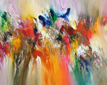 "Large Abstract Painting 51.2 "" x 31.5 "" Original XL Acrylic, unstrechted,  Artist Peter Nottrott."