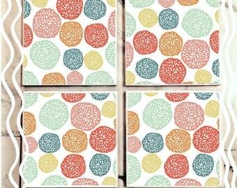 Multicolored Floral Tile Coasters