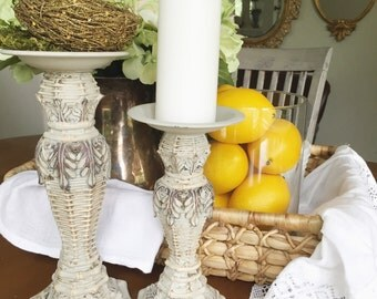 Shabby Chic Candle Holders French Wedding Table Centerpiece Ornate Decorative Candlestick holder
