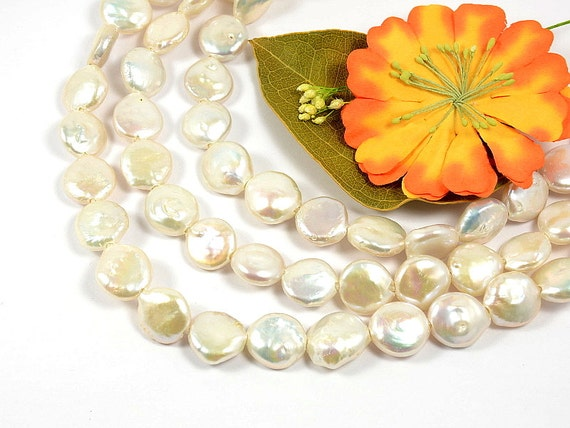 13mm - 14mm large hole (2mm) genuine freshwater pearls, coin shape, natural white color -10 pcs/ order