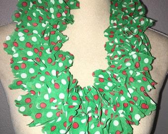 Awesome polka dot Christmas ruffle scarf
