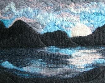 Mountains on the Loch Fiber Art, Felted Art, Wet Felt Art, Textile Art, Felt Art