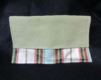 "Lightweight Upholstery Green Striped Clutch | 12"" L x 7"" H"