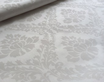 White Cotton sateen fabric - Damask - 100% cotton - 150cm wide - Half metre