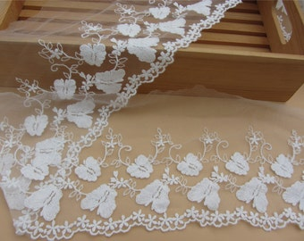 off white butterfly Lace trim,embroidery lace trimming