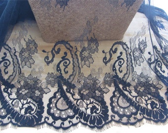 Chantilly Eyelash Lace Trim, Chantilly Lace Fabric, 59 inches Wide for Veil, Dress, Costume, Craft Making, 1yard/3 yards  for 1piece