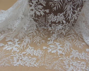 white lace fabric ,wedding lace ,grass and leaves embroidery lace -9162