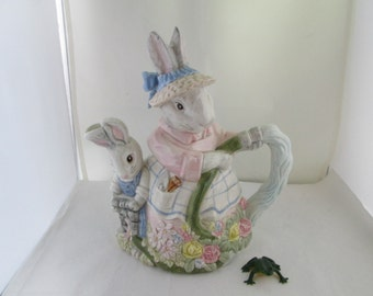 Fitz and Floyd Woodland Spring Bunny Rabbit Water Pitcher F and F Easter Pitcher Rabbit pitcher Bunny pitcher water pitcher Easter bunny