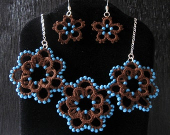 Bring Me Flowers Tatted Necklace and Earrings Lace Jewelry Set in Mocha
