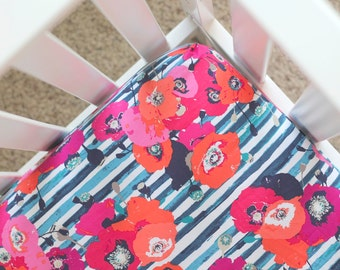 Floral - Fitted Crib Sheet - blue, coral, pink, and navy