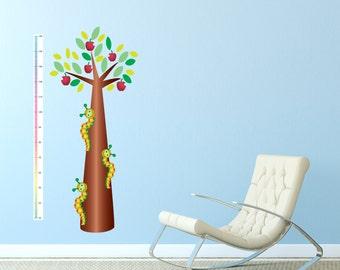 Caterpillar Tree Height Chart Wall Sticker Growth Chart Playroom Nursery Bedroom Art Decal Vinyl Transfer