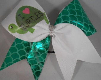 Cheer Bow I LOVE heart TURTLES by BlingItOnCheerBowz