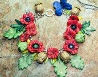 Field Poppy Flanders Bracelet Remembrance For Our Einherjar, Our Noble Dead who Fought For Our Freedom.