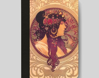 iPad Folio Case, iPad Air Case, iPad Air 2 Case, iPad 1 Case, iPad 2 Case, iPad 3 Case, iPad Mini 1 2 3 4 The Brunette by Alphonse Mucha