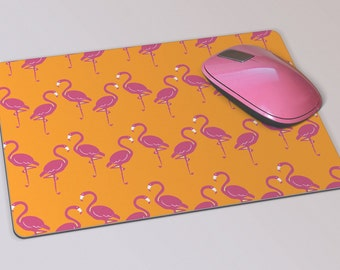 Fabric Mousepad, Mousemat, 5mm Black Rubber Base, 19 x 23 cm - Hot Pink and Orange Flamingo Design Mousepad Mousemat