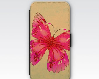 Wallet Case for iPhone 8 Plus, iPhone 8, iPhone 7 Plus, iPhone 7, iPhone 6, iPhone 6s, iPhone 5/5s - Pink Butterfly Wallet Case