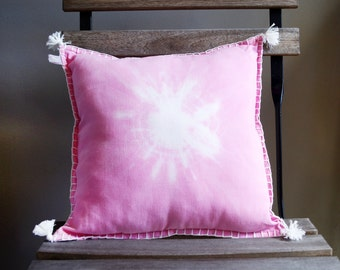 Pink and white dyed cushion
