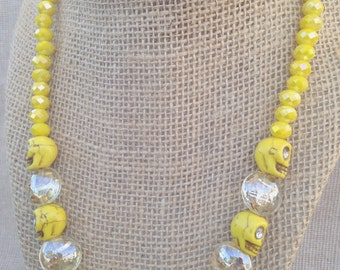 Sunshine Yellow Sugar Skull Statement Necklace