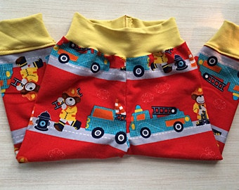 Baby boy/ toddler boy  flannel  firefighter pants // red fire truck pants for children // Made to order