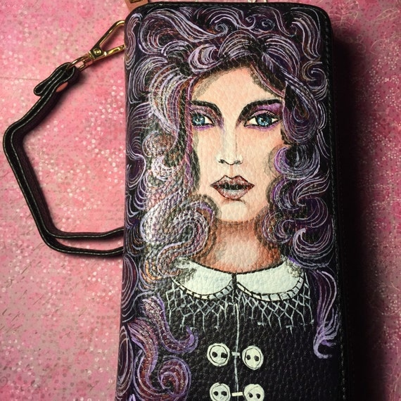 women's wallet - Black Clutch Purse- double zipper closure hand painted