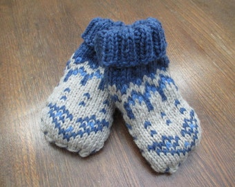 Warm Woolly Toddler's Slippers in Medium Blue with Sheepskin Soles