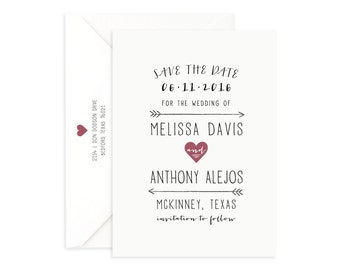 Printed Save the Date, Modern Save the Date, Simple Save the Date, Formal Save the Date, Boho Save the Date, Save the Date Rustic
