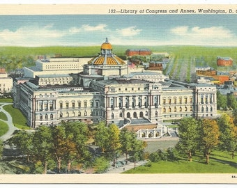 Library of Congress and Annex, Washington DC Linen Era Postcard (Unposted)